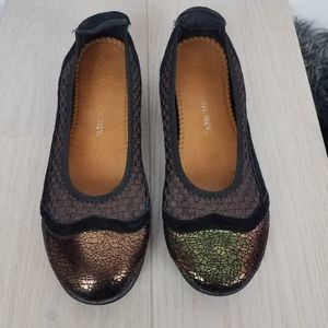 bernie mev. | Bronze Crackle Black Suede Flats